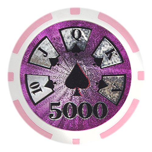 Brybelly Hi-Roller Poker Chip Heavyweight 14-gram Clay Composite - Pack of 50 ($5000 Pink) ()
