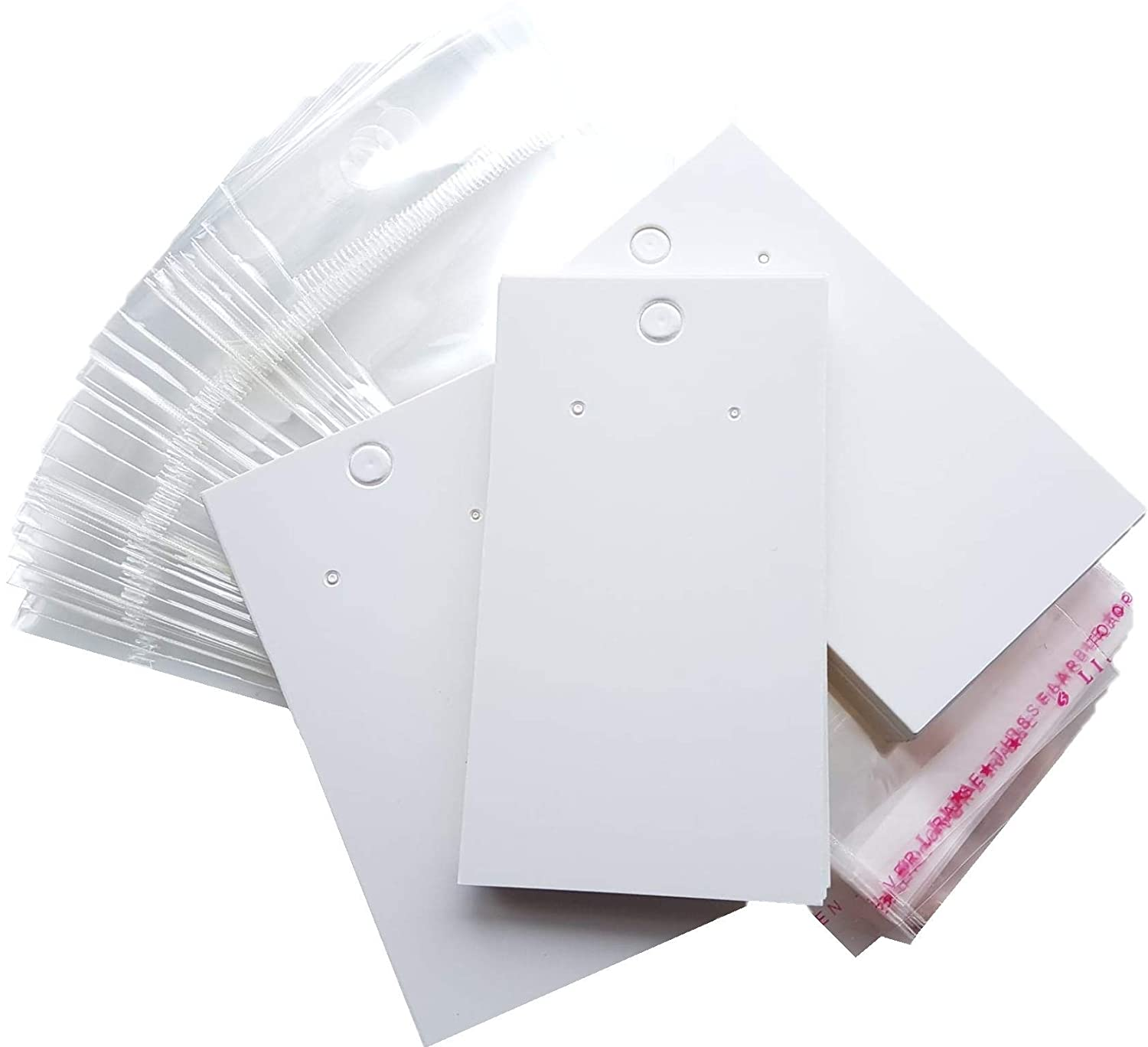100 x Plain White Blank Earring Jewellery Display Cards With Bags n/a