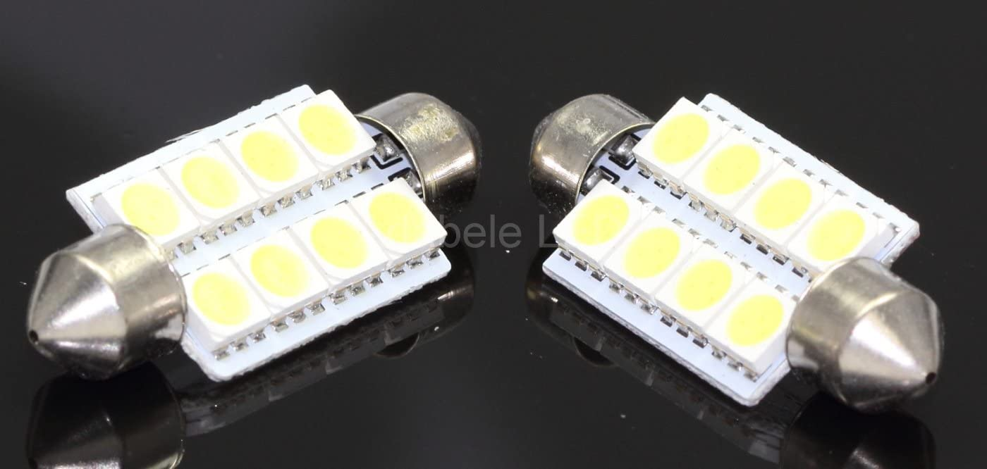 2pcs 42mm 8-SMD-5050 Replacement Bulbs White Car Interior LED Lights Bright Lamp