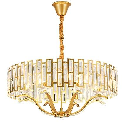 Amkoy Modern Araña de Luces Cristal Simple Dorado Lampara ...