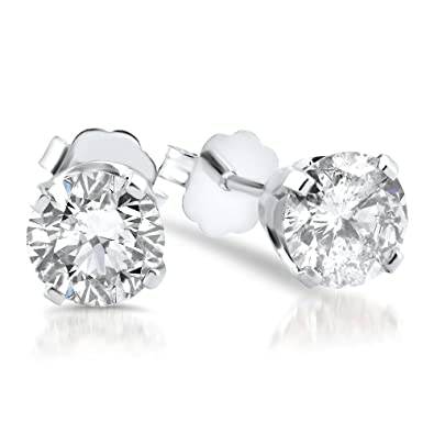 586427472 Image Unavailable. Image not available for. Color: 5/8ct Diamond Studs 14K  White Gold Push Back