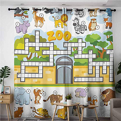 Curtains for Bedroom,Word Search Puzzle,Zoo Themed Education Game with Different Animals Numbers and Words Print,Space Decorations,W108x108L,Multicolor -