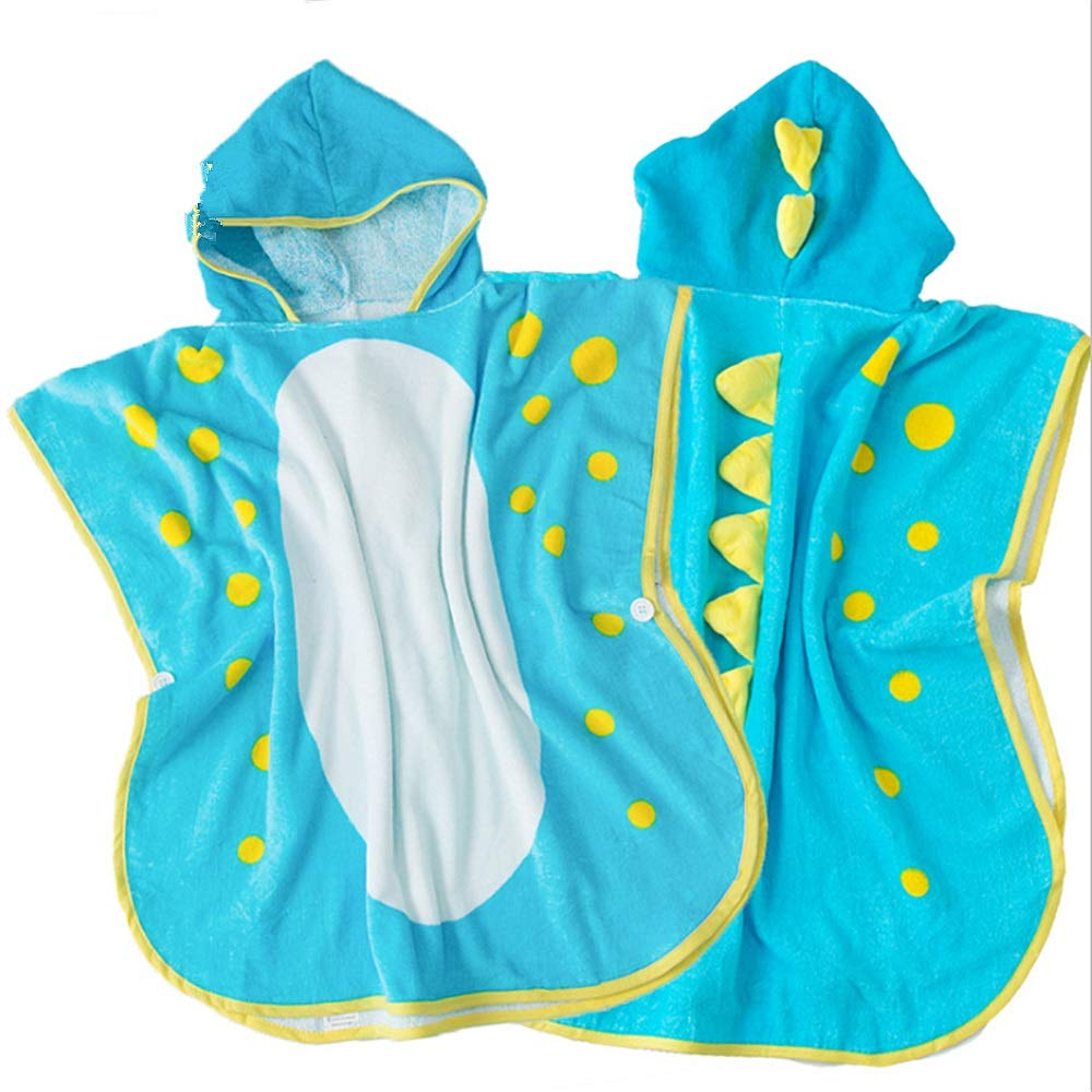 Feeryou Boy Cute Dinosaur Design Towel Large Size Hooded Bath Towel Swimming Towel Breathable high Water Absorption for Children Aged 1-6 Super Strong (Color : Blue, Size : 7070cm)
