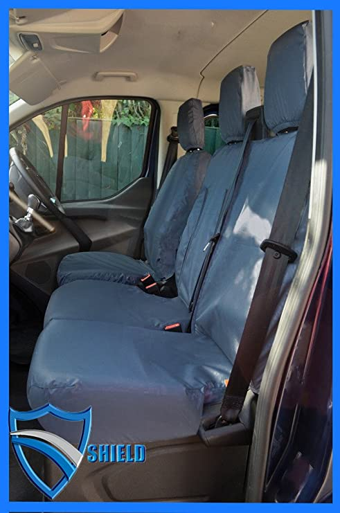 SINGLE /& DOUBLE VAUXHALL VIVARO YELLOW//BLK PADDED LEATHER LOOK VAN SEAT COVERS