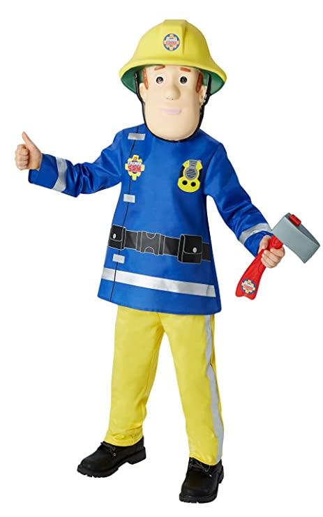 81112a8703b9 Amazon.com: Boys Fireman Sam Firefighter + Mask & Axe Book Day Cartoon  Halloween Fancy Dress Costume Outfit (3-4 Years): Toys & Games