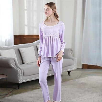 0301d2a0d9ba Shirleyle Elegantes Pantalones de Pijama para Mujer, con 2 Piezas de  algodón Suave de Invierno