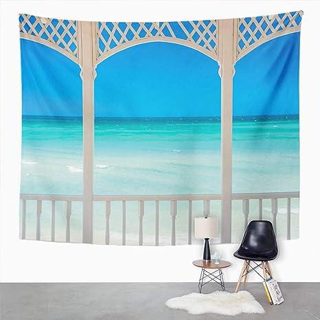 Amazon Com Qamida Beach Theme Tapestry Coastal Theme Maldives Tropic Ocean Cuban Shoreline Photo Tapestry For Bedroom Room Decor Wall Hanging Wall Art Tapestry Picnic Mat Beach Towel Bed Cover 50 X60 Home
