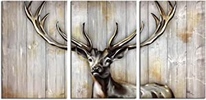 LevvArts 3 Piece Deer Canvas Wall Art Vintage Deer Head Painting Abstract Elk Antler Poster Print Gallery Wrap Rustic Home Farmhouse Cabin Decor Ready to Hang Each Piece 16x24