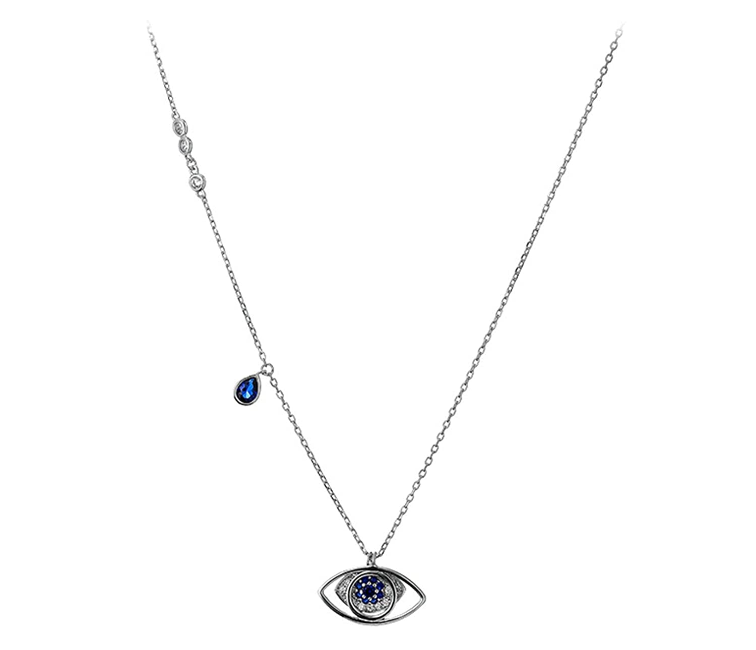 Amazon.com  Gnzoe Women 925 Sterling Silver Eye Necklace Pendant Silver  with Blue CZ 42CM  Jewelry 84fcf9baf1