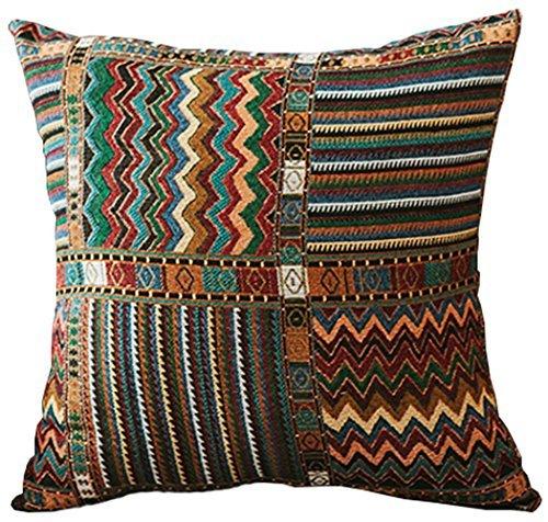 M MOCHOHOME Bohemian Style Retro Decorative Cotton/Linen Blend Wave Stripe Square Euro Throw Pillow Cover Case Pillowcase Cushion Sham - 18'' x 18''