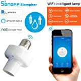 KOBWA Smart WiFi portalampada E27, Smart LED Lampadina portalampada Adattatore Wireless Plug Funziona con Alexa e Google Home Assistente, Remote Control Your Chiodino da Qualsiasi Posto (1 Pcs)