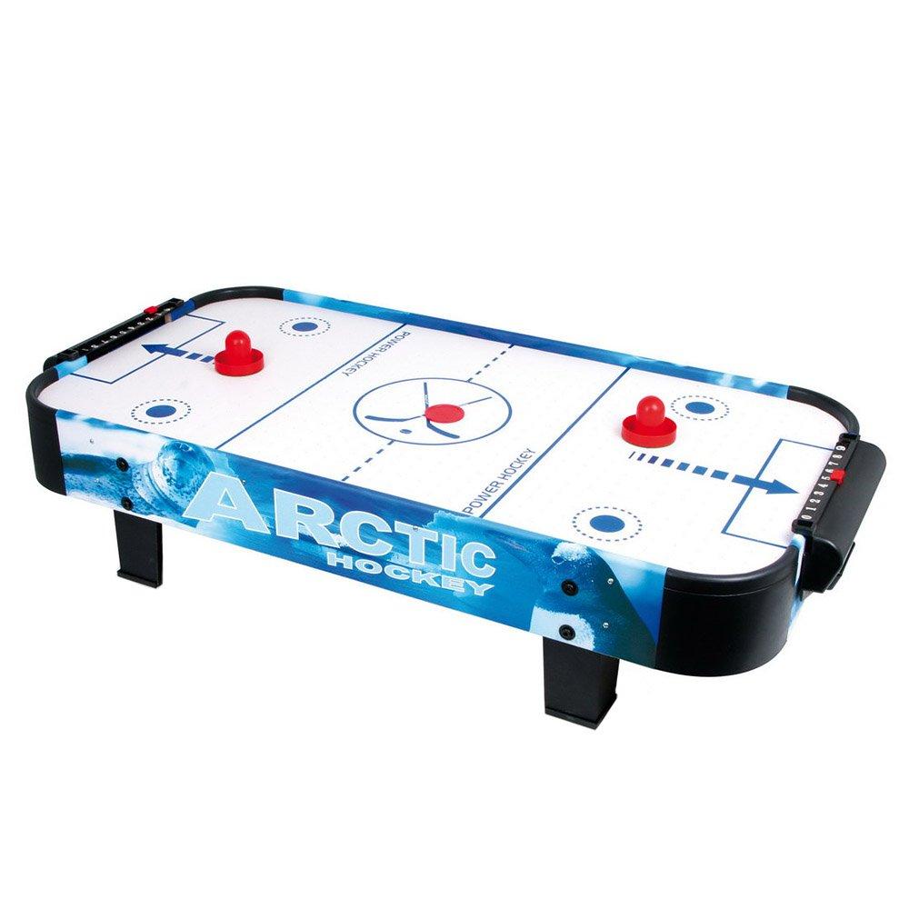 Air-Hockey Tisch mit einem Puk und zwei Schlägern, ein Spiel für zwei Personen, kann auf einem Tisch platziert werden