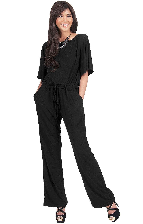6145522e790 Amazon.com  KOH KOH Womens Short Sleeve Long Pants Suit Jumpsuit Playsuit  One Piece Romper  Clothing