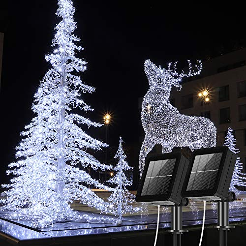 Solar Lichterkette Aussen,[2 Stück] 100 Leds Lichterkette Außen Solar 10Meter 8 Modus Außenlichterkette für Für Hochzeit, Party und Weihnachten, Garten Deko Gebäude Beleuchtung Aussen (Kaltes Weiß)