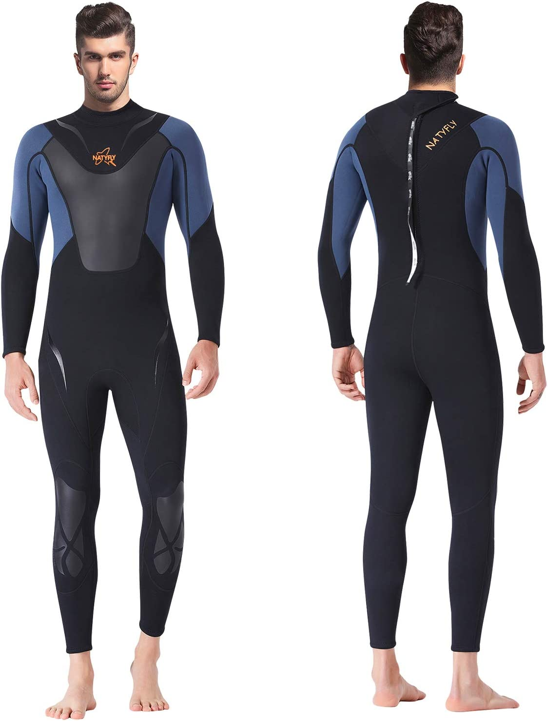NATYFLY Mens Wetsuit 3mm Neoprene Jumpsuit, Youth Women Full Body Diving Suits for Scuba Surfing Swimming Long Sleeve Back Zip for Water Sports: Sports & Outdoors