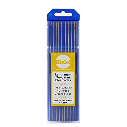 Topwill 10 x Electrodos de Tungsteno WL-15 Electrodos de Tungsteno 1.6Ø x 175mm Varillas de Tungsteno para Soldadura (Oro)