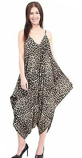 540f90c1f8b Image Unavailable. Image not available for. Color  Oops Outlet Women s Thin  Strap Lagenlook Romper Baggy Harem Jumpsuit Playsuit
