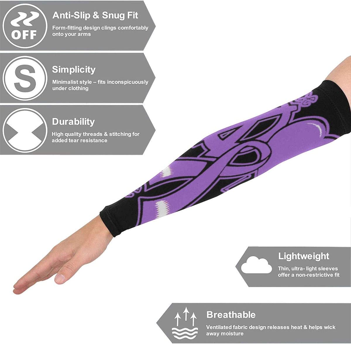 Aidia Purple Peace Love Gymnastics Breast Awareness Arm Sleeves Breathable Elastic Blend 98/% Sun Protection Arm Compression Sleeves Injury Prevent Basketball Sleeves For Outdoors