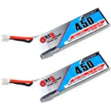 2pcs 450mAh 1S 3.7V 80C LiPo Battery with JST-PH 2.0 Connector for Micro FPV Racing Drone Quadcopter