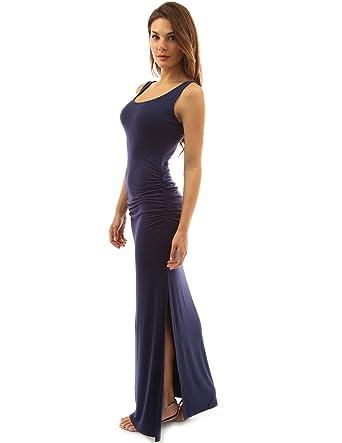 PattyBoutik Damen ärmelloses Sommer Maxi Kleid mit Rundhalsausschnitt und  Seitenschlitz  Amazon.de  Bekleidung 541d9ebf19