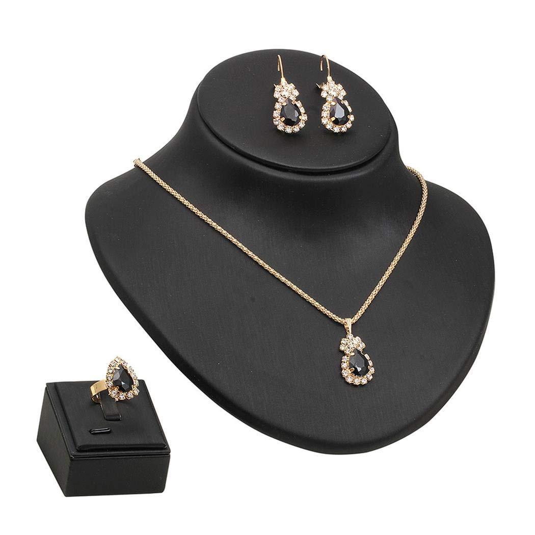 lantusi Women Elegant Rhinestone Chain Pendant Necklace Earrings Rings Set Jewelry Set Jewelry Sets