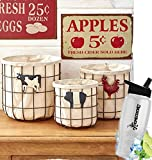 Gift Included- Farmhouse Animal Kitchen Country Vegetable & Fruit Storage Baskets Set of 3 + FREE Bonus Water Bottle by Homecricket