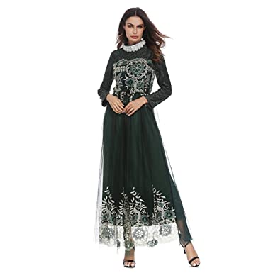Hougood Women Maxi Dress Bridesmaid Dress Abaya Dresses Muslim Islamic Long  Sleeves Dubai Kaftan Robes Dressing Gown Evening Prom Dresses Middle East  Dress ... 69c36ba54