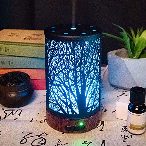 JUZEN Aroma Diffuser Metal Sprayer Mute Humidification Colorful Night Light Home Office Hotel Romantic Light Air Humidifier