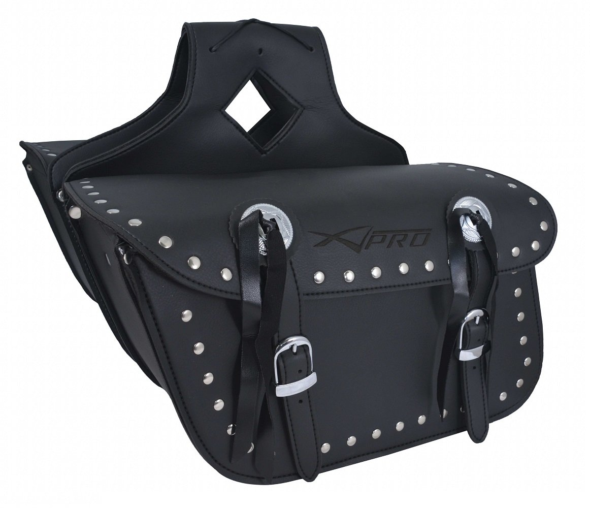 Borsa Bisacce Moto Customo Chopper Borchie Cromate Nero Saddle Bags A-PRO 5180000054052