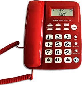 Corded Phone with Caller ID, HePesTer P-50 Home Landline Phone for Elderly Seniors Wired Desk Telephone with SOS Emergency Button/Speed Dial/Speakerphone (Red)