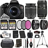 Canon EOS Rebel T6i / 750D 24.2 MP DSLR Camera + Canon EF-S 18-55mm IS STM Lens + Tamron Zoom Telephoto 70-300mm Autofocus Lens - All Original Accessories Included - International Version