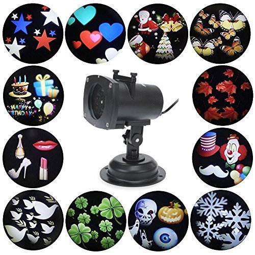 BOSSJOY Projector Lights 12 Pattern Gobos Garden Lamp