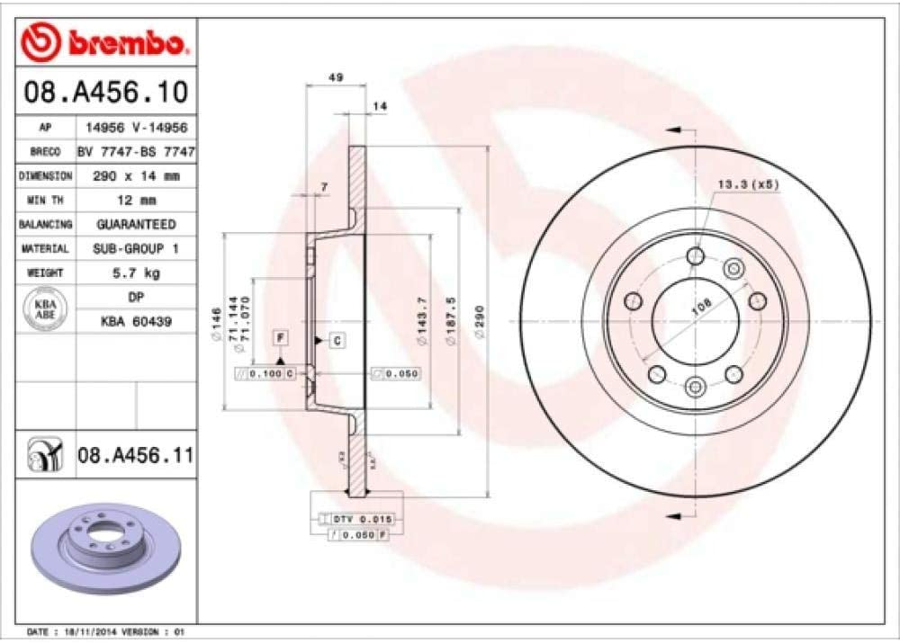 Brembo 08.A456.11 Bremsscheibe COATED DISC LINE