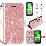 Motorola Moto G6 Play Case,G6 Forge Case w [Screen Protector] (not fit G6), [Kickstand] [Card Slots] [Wrist Strap] 2 in 1 Glitter Magnetic Flip PU Leather Wallet Cover Compatible Moto G6 Play,Rosegold For Sale
