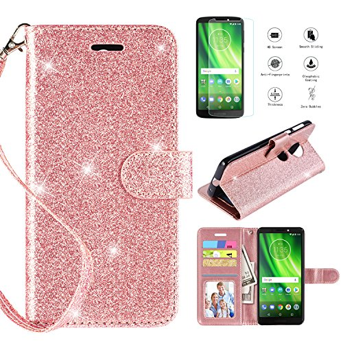 Motorola Moto G6 Play Case,G6 Forge Case w [Screen Protector] (not fit G6), [Kickstand] [Card Slots] [Wrist Strap] 2 in 1 Glitter Magnetic Flip PU Leather Wallet Cover Compatible Moto G6 Play,Rosegold