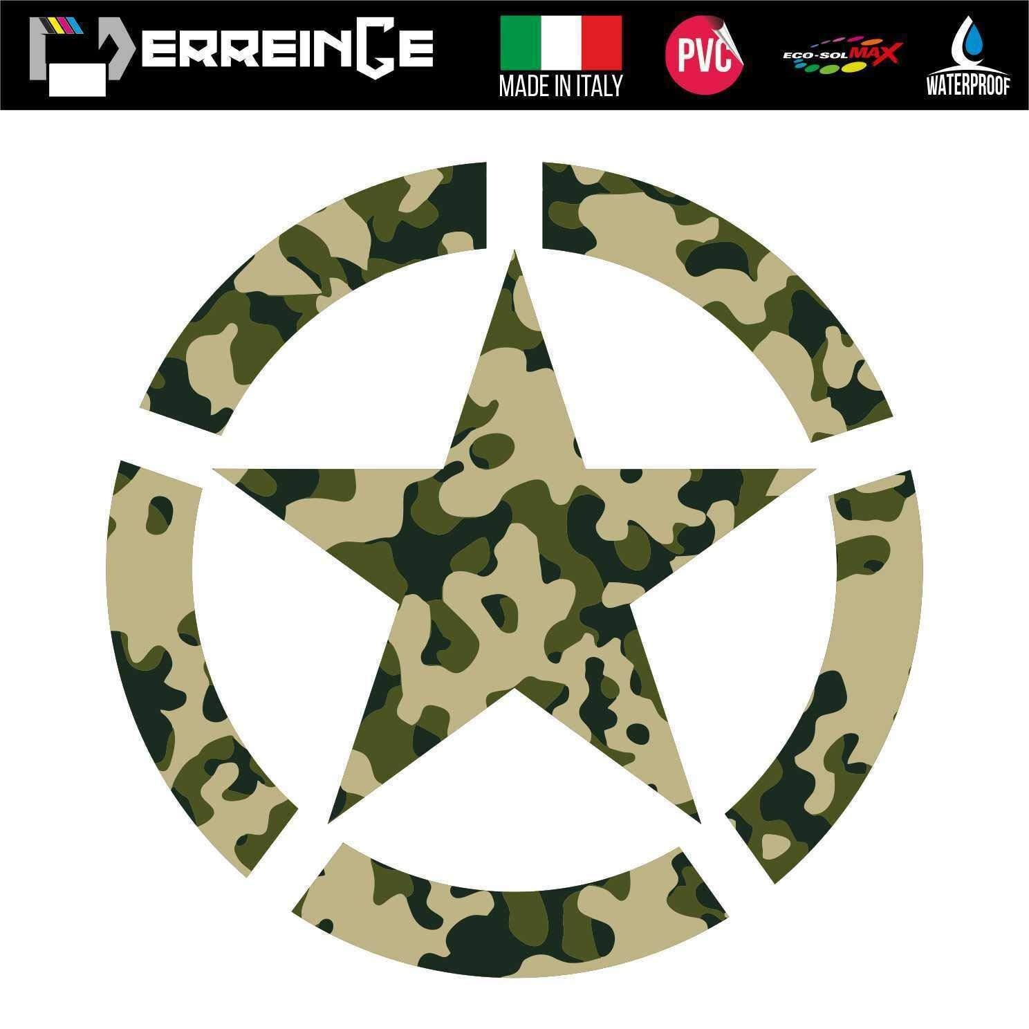erreinge Sticker Stella Militare Camouflage Army Adesivo Stampato su PVC per Decalcomania Parete Murale Auto Moto Casco Camper Laptop cm 35