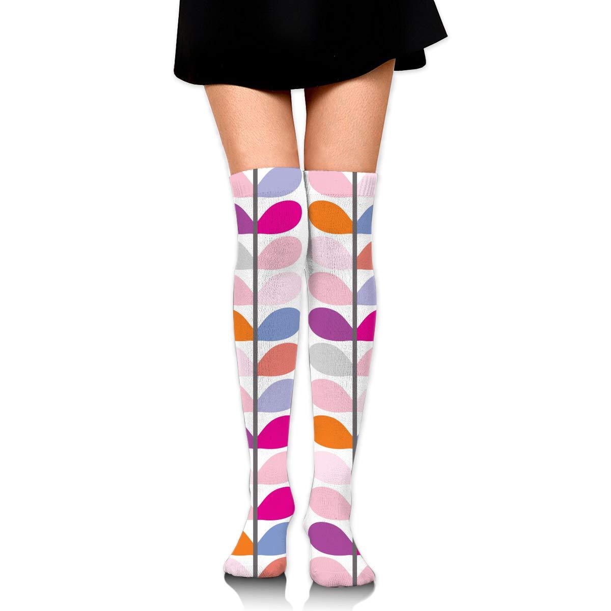High Elasticity Girl Cotton Knee High Socks Uniform Leaf Pattern Women Tube Socks