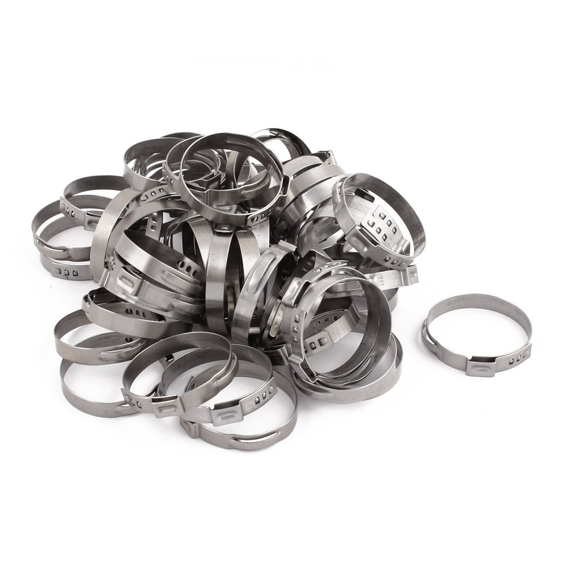 uxcell 34.9mm-38.1mm 304 Stainless Steel Adjustable Tube Hose Clamps Silver Tone 50pcs