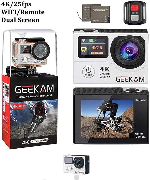 XRQ Cámara Deportiva 4K con WiFi de Doble Pantalla y cámara remota ...