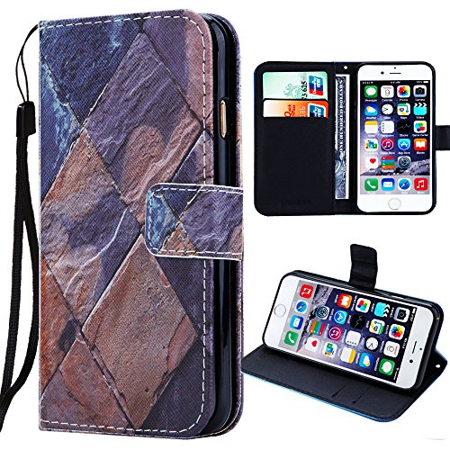iphone 7 Plus Wallet Case,Auker Vintage Leather Marble Flower Folio Flip Book Stand Up Credit Card Holder Slim Fit Case With Magnetic Clasp Closure&Strap for iphone 7Plus 5.5 inch for Women Men (#21)