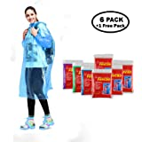 Abonda Disposable Ponchos Thicker Emergency rain Ponchos for Adults in Bulk and Children 59' to 72' Tall, Poncho with Drawstring Hood and Elastic Sleeve Ends, Assorted Colors 7 Pack …