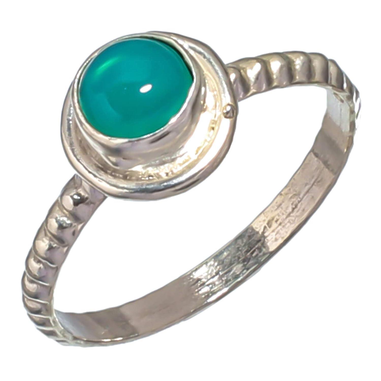 Chalcedony Gemstone Ring Handmade Silver Plated Jewelry