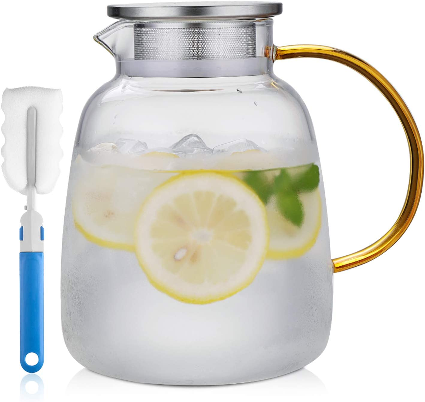 Glass Pitcher with Stainless Steel Lid - 68 Ounces Water Carafe with Handle - Good Beverage Pitcher for Homemade Juice & Iced Tea (Gold)