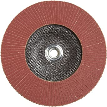 PFERD Polifan SG Abrasive Flap Disc, Type 27, Threaded Hole, Phenolic Resin Backing, Aluminum Oxide