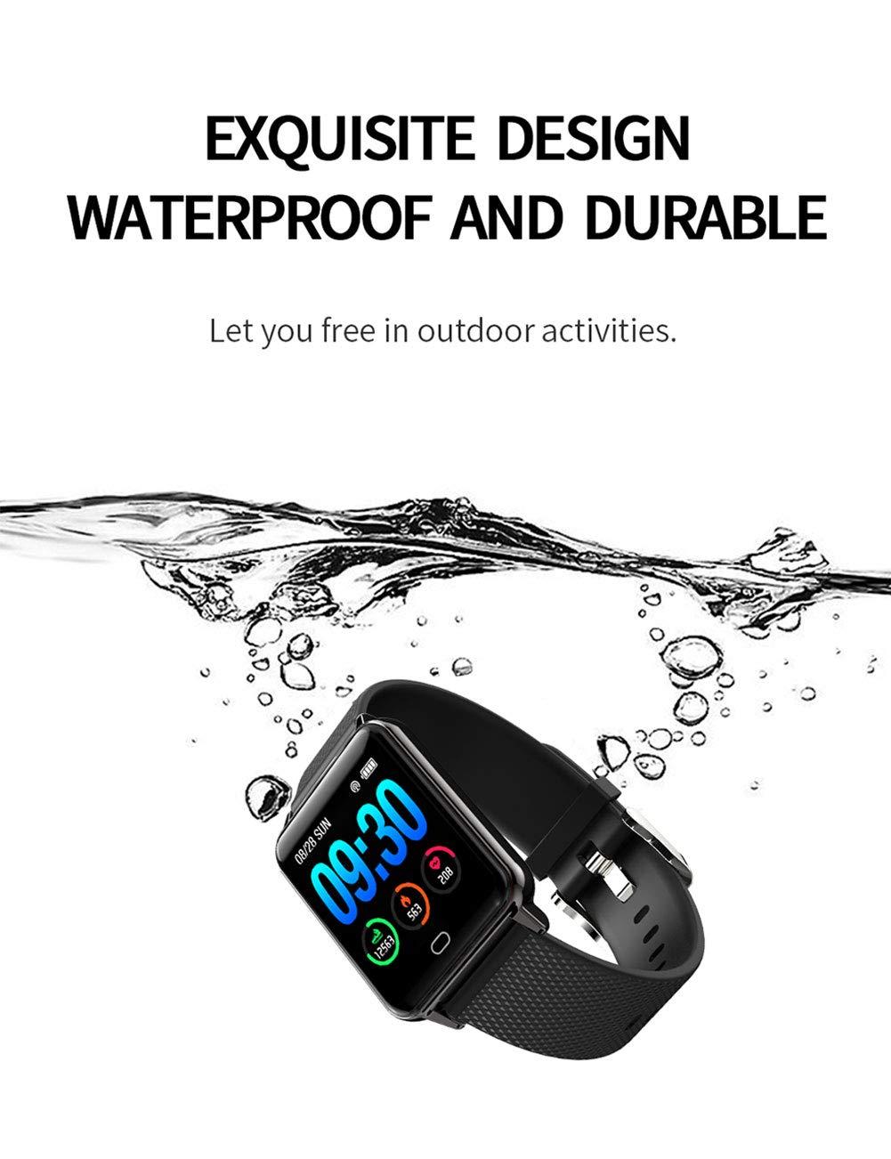 Monitores de actividad ALTRLP Fitness Actividad rastreador podómetro Monitor de frecuencia cardíaca Impermeable información de Llamada luz de respiración Deportes Pulsera Inteligente-Negro