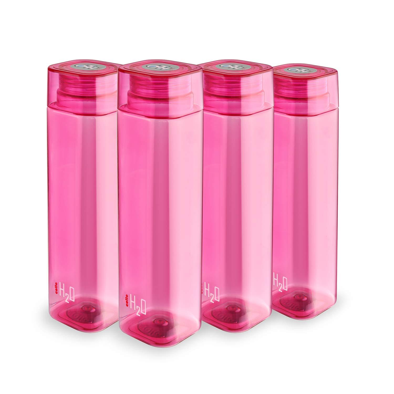 Cello H2O Squaremate Plastic Water Bottle, 1-Liter, Set of 4, Pink