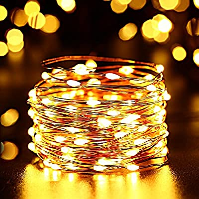 Toodour 2 Pack Solar 100 Led Copper Wire Lights