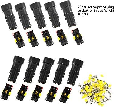 Atpwonz 10 Set Steckverbinder 2 Polig Schnellverbinder Ip67 Wasserdicht Stecker Mit Kabelquerschnitt 0 3 Mm 1 Mm Für Auto Kfz Boot Auto
