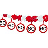 Udo Schmidt GmbH & Co 60 - Guirnalda de cumpleaños, color negro, rojo y blanco