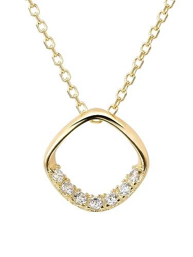1387d65fd660 Collier avec pendentif en or pour femmes – Argent Sterling 925 avec zircone  cubique étincelante 5A